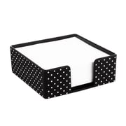 Insten Soft Touch Desktop Memo Pad Holder, Black with White Dot (2174124)