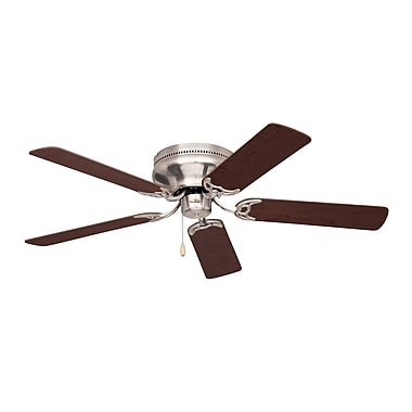 Emerson Fans 42'' Contemporary Snugger 5 Blade Ceiling Fan; Brushed Steel w/Cherry/Mahogany Blades