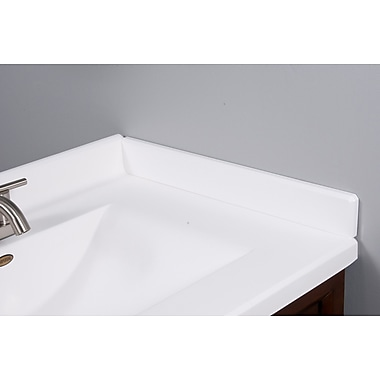 Imperial 22'' X 3'' Right Hand Side Splash for Wave Style Bathroom Vanity Top in Solid White