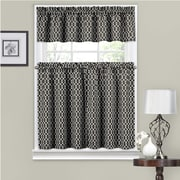 Traditions by Waverly Ellis 56'' Valance and Tier Set; Onyx
