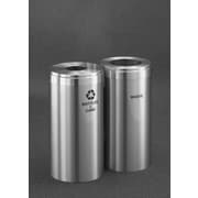 Glaro, Inc. RecyclePro Value Series 30-Gal Dual Unit Multi Compartment Recycling Bin; Satin Aluminum