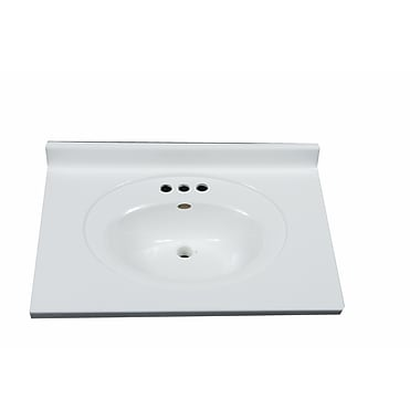 Imperial 31'' Vanity Top w/ Recessed Center Oval Bowl in Solid White