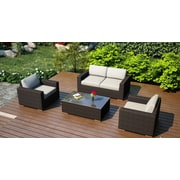 Harmonia Living Arden 4 Piece Deep Seating Group with Cushion; Canvas Natural