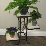 4D Concepts Multi-Tier Plant Stand with Travertine Top