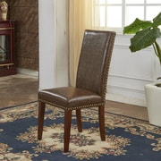 Bellasario Collection Traditional Waxed Texture Nail Head Parsons Chair (Set of 2)