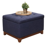 HomePop Upholstered Storage Cocktail Ottoman; Navy