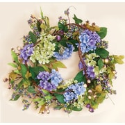 Worth Imports Hydrangea Wreath in Blue with Leaves and Berries