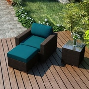 Harmonia Living Arden 3 Piece Deep Seating Group with Cushion; Spectrum Peacock
