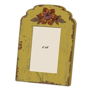 M Home Decor Shabby Elegance Wood Flower Picture Frame; Yellow