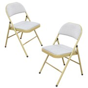 AdecoTrading Tubular Steel Folding Chair (Set of 2); Heather Gray