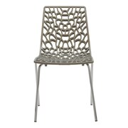 Grandsoleil Upon Groove Mite Armless Stacking Chair (Set of 2); Glossy Pearl Gray