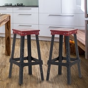 AdecoTrading 30'' Bar Stool; Red