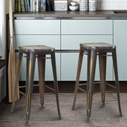 AdecoTrading 30'' Bar Stool (Set of 2); Distressed Copper