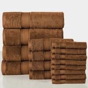 Affinity Linens 16 Piece Towel Set; Mocha