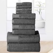 Affinity Linens 10 Piece Towel Set; Grey