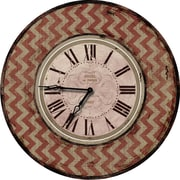 M Home Decor Shabby Elegance Chevron 24.5'' Wall Clock; Red