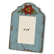 M Home Decor Shabby Elegance Wood Flower Picture Frame; Blue