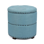 AdecoTrading Round Storage Ottoman; Blue