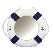 Handcrafted Nautical Decor Classic Decorative Anchor Lifering Wall Mirror; Blue