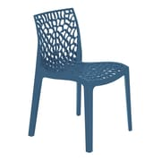 Grandsoleil Stacking Dining Side Chair (Set of 2); Avio Blue