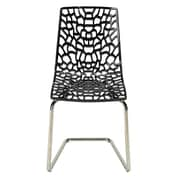 Grandsoleil Stacking Dining Side Chair (Set of 2); Glossy Black