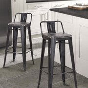 AdecoTrading 30'' Bar Stool (Set of 2); Black