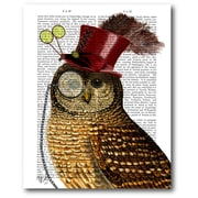 Courtside Market Owl with Top Hat Graphic Art on Wrapped Canvas