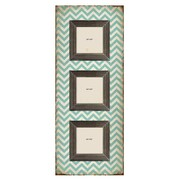 M Home Decor Shabby Elegance Chevron 3 Slot Wood Picture Frame