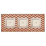 M Home Decor Shabby Elegance Chevron 3 Slot Wood Picture Frame; Red