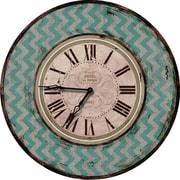 M Home Decor Shabby Elegance Chevron 24.5'' Wall Clock; Teal