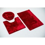 Persian-rugs 3 Piece Bath Rug Set; Burgundy