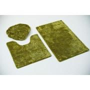 Persian-rugs 3 Piece Bath Rug Set; Green