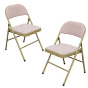 AdecoTrading Tubular Steel Folding Chair (Set of 2); Pink Beige