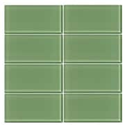 VicciDesign 3'' x 6'' Glass Subway Tile in Pistachio