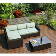 Harmonia Living Arden 5 Piece Lounge Seating Group with Cushion; Canvas Spa