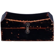 Antique Revival Chinese Pillow Box with Iron Latch; Black