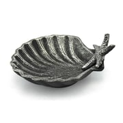 Handcrafted Nautical Decor Cast Iron Shell with Starfish Decorative Bowl; Antique Silver