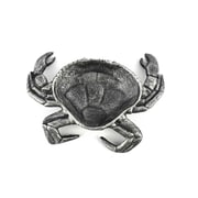 Handcrafted Nautical Decor Decorative Crab Bowl; Antique Silver