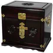 Oriental Furniture Lacquer Jewelry Box; Dark Rosewood Lacquer