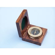 Handcrafted Nautical Decor Paperweight Compass with Rosewood Box; Brass