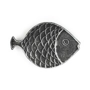 Handcrafted Nautical Decor Cast Iron Fish Decorative Plate; Antique Silver
