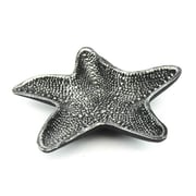 Handcrafted Nautical Decor Cast Iron Starfish Decorative Bowl; Antique Silver