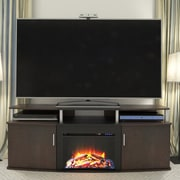 Altra Carson TV Stand with Electric Fireplace; Cherry / Black