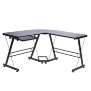 Merax L-Shape Writing Desk; Black/Black Glass