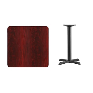 Flash Furniture 30'' Square Laminate Table Top, Mahogany with 22'' x 22'' Table-Height Base (XUMA3030T2222)