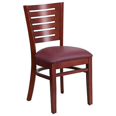 Flash Furniture Darby Series Slat Back Mahogany Wooden Restaurant Chair, Burgundy Vinyl Seat ( XUDGW018MAHBGV)