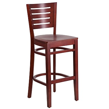 Flash Furniture Darby Series Slat-Back Wood Restaurant Barstool, Mahogany (XUDGW018BMA)