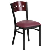 Flash Furniture  Hercules Black 4-Square-Back Metal Restaurant Chair, Mahogany Wood Back, Burgundy Vinyl Seat (XUDG6Y1BMAHBGV)