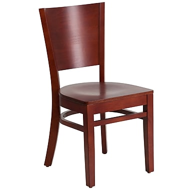 Flash Furniture Lacey Series Solid-Back Wood Restaurant Chair, Mahogany (XUDGW094MAH)