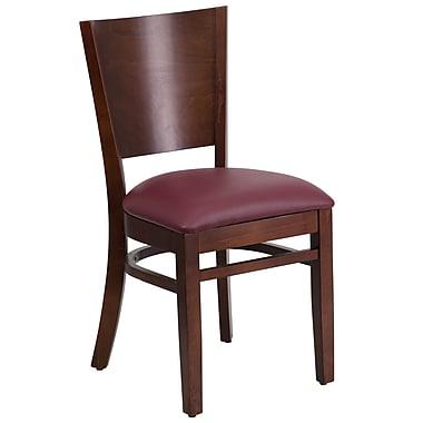 Flash Furniture – Chaise de restaurant Lacey en bois, dossier plein, noyer, siège en vinyle bourgogne (XUDGW094WALBGV)